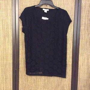 Liz Claiborne Crochet Tee in BLACK